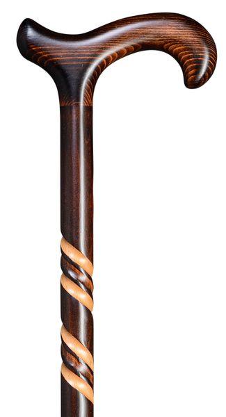 Gehstock SPIRAL-Derby, eleganter, kräftiger Derbygriff und Stock aus Buchenholz, dunkel geflammt und gebeizt mit spiralförmigen Verzierungen, inklusiv Gummipuffer. – Bild 1