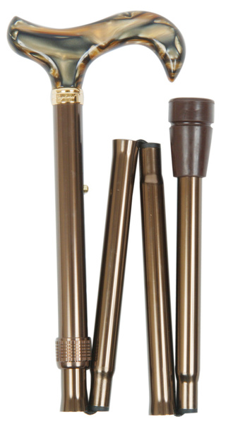 Walking stick design - Folding stick PEARL, height adjustable from 82 cm-92 cm, handle in mother of pearl. Optics, stick light metal glossy brown with rubber buffer – image 1