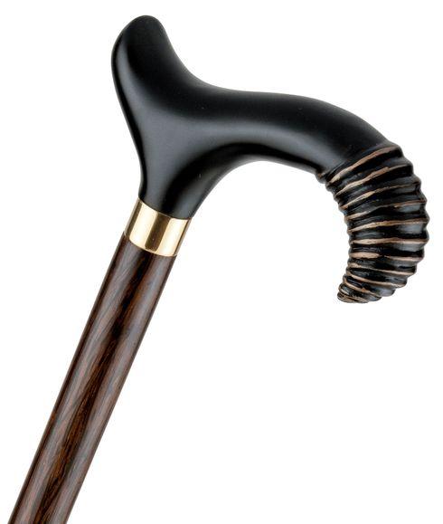 Gehstock NIZZA-Derby ergonomischer Derbygriff aus Hartholz, schwarz lackiert mit Gold-Effekt Schliff,Stock aus edlem Palmholz natur, goldfarbener Schmuckring, Gummipuffer – Bild 1