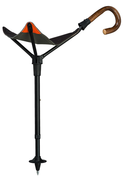 Walking stick seat PRAKTUS SAFETY OAK with a handle made of real oak, seat made of English saddler cowhide, anodized aluminum pole, height-adjustable. – image 1