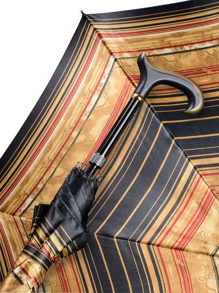 Automatik Stützschirm QUEEN MARY, seidenmatt lackierter L- Derby Holzgriff, Schirmdach aus klassischem Satinstoff, höhenverstellbar von 85- 94 cm.  – Bild 1