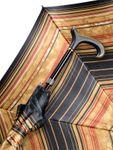 Automatik Stützschirm QUEEN MARY, seidenmatt lackierter L- Derby Holzgriff, Schirmdach aus klassischem Satinstoff, höhenverstellbar von 85- 94 cm.  001