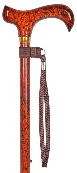 Walking stick BIRDEYE ONE, noble grain optics in red-brown tones, derby grip, light metal stick height adjustable from 70 cm to 94 cm, including wrist loop and rubber buffer – image 1