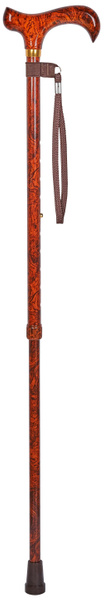 Walking stick BIRDEYE ONE, noble grain optics in red-brown tones, derby grip, light metal stick height adjustable from 70 cm to 94 cm, including wrist loop and rubber buffer – image 2