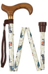 Walking Stick Folding Stick GARDEN BIRDS, wooden Derbygrip with wide rest, bird pattern on a white background with forest motifs, incl. Rubber buffer and carrying strap
