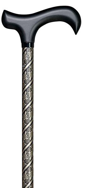 Design Gehstock Step-Derby CLEOPATRA, eleganter Derbygriff aus Hartholz mit Softgrip-Beschichtung, Stock Leichtmetall, höhenverstellbar, Gummipuffer. – Bild 1