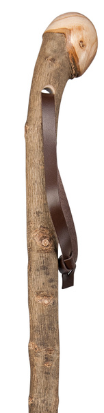 Walking Stick Hiking Stick Root Handle SILVERESCHE, noble knob made of European ash wood, root side hand polished, bark-proof and semi-gloss lacquered, including leather carrying strap and metal tip. – image 1