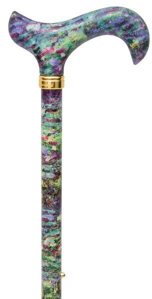 Gehstock Fashion-Derby CLAUDE MONET NATIONAL GALLERY, Derbygriff aus Acryl, Stock aus stabilem Leichtmetall mit Muster eines Gemäldes von Claude Monet, höhenverstellbar, Gummipuffer.