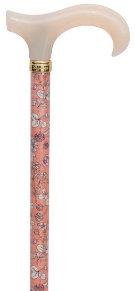 Gehstock Derby VINTAGE, schlanker Derbygriff elfenbeinfarben aus Gießharz, Stock aus Leichtmetall mit floralem Blütendesign, höhenverstellbar ,inkl. Gummipuffer. – Bild 1