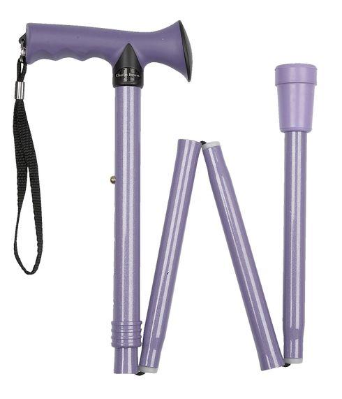 Design Gehstock FLIEDER Faltstock, lila metallic, speziell geformter Griff mit Softgrip Beschichtung, höhenverstellbar, inklusive  Gummipuffer und Stockschlaufe – Bild 1