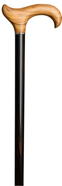 Design walking stick OLIVE EBONY, ergonomic derby handle made of olive wood and stick made of polished ebony, lightly oiled, with chrome ring, rubber buffer – image 2